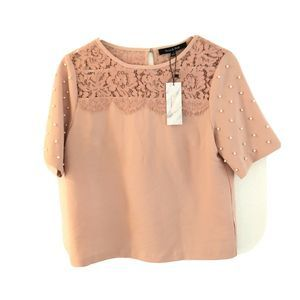 Strut and Bolt Blouse Top Pink Lace …